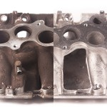 Manifold before & after ultrasonic cleaning